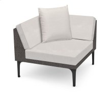 "36"" Outdoor Dark Grey Rattan Corner Sofa Sectional, Upholstered in COM"