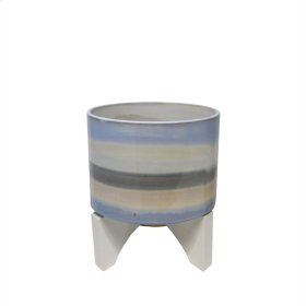 "Ceramic 10.25"" Planter On Stand, Blue Mix"