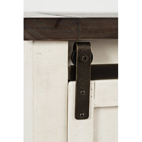 "Madison County 32"" Barn Door Accent Cabinet - Vintage White"