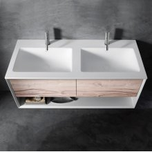 "series 1400 blustone™ double vanity top, 1/2"" thick, White gloss 55 1/4"" x 20 1/4"""