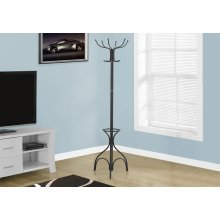 "COAT RACK - 70""H / BLACK METAL WITH AN UMBRELLA HOLDER"