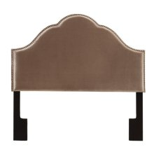Glam Upholstered Headboard Velvet Chrome Queen