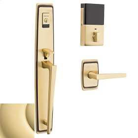 Non-Lacquered Brass Evolved Palm Springs Full Escutcheon Handleset
