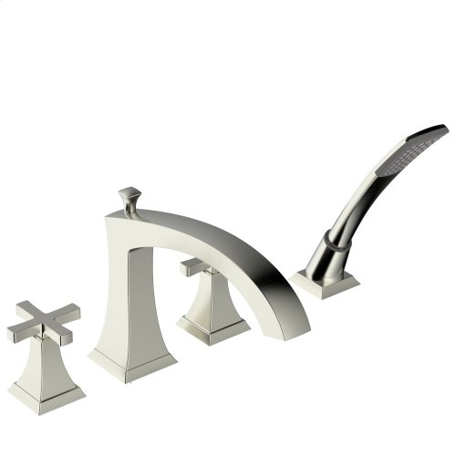 Roman Tub Faucet With Hand Shower Leyden Series 14 Satin Nickel 1