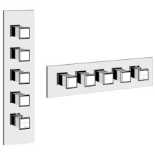 """TRIM PARTS ONLY External parts for thermostatic with 4 volume controls Single backplate High capacity 3/4"""" connections Vertical/Horizontal application Anti-scalding Requires in-wall rough valve 39699"""