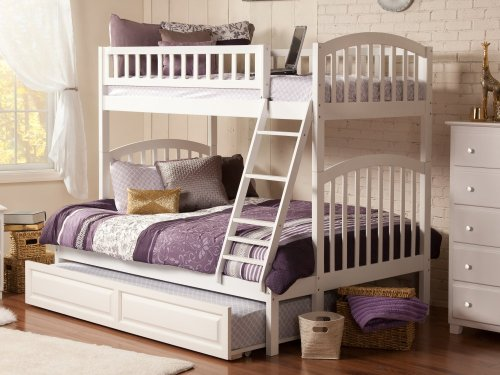 Richland Bunk Bed Twin over Full with Raised Panel Trundle Bed in White