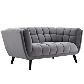 Bestow Velvet Loveseat in Gray