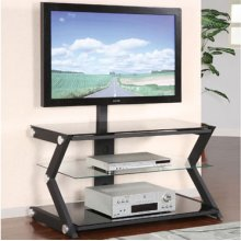 """""""Sandy Black"""" 40"""" Wide Flat Panel TV Stand with TV Mounting Post"""