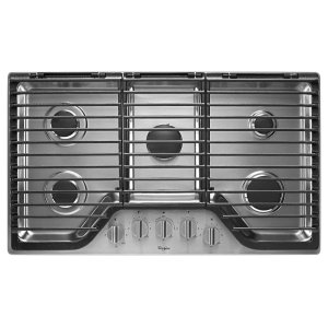 WHIRLPOOL36 inch 5 Burner Gas Cooktop with EZ-2-Lift Hinged Cast-Iron Grates