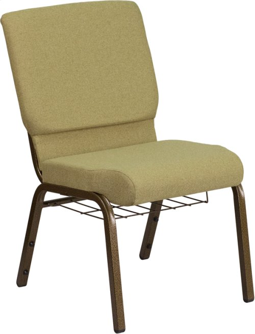 HERCULES Series 18.5''W Church Chair in Moss Green Fabric with Cup Book Rack - Gold Vein Frame