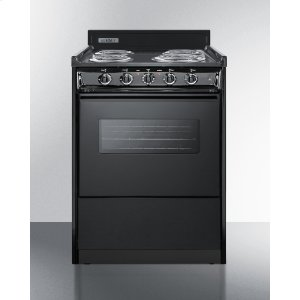 "Summit24"" Wide Electric Range In Black With Oven Window, Interior Light, and Lower Storage Compartment"