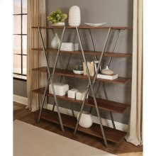 Ryder - Double X Bookcase Shelves - Rustic Clove Finish