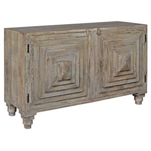 CRESTVIEW COLLECTIONSBengal Manor Mango Wood 2 Stacked Pyramid Door Cabinet