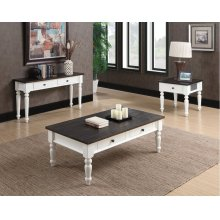 Emerald Home 3 Piece Set Mountain Retreat Dark Mocha and Antique White Coffee Table, End Table, and Sofa Table T601-1-2-3-09-3pcset-k