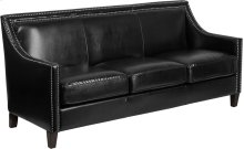 Compass Series Transitional Black Leather Sofa with Walnut Legs