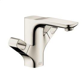 Polished Nickel 2-handle basin mixer 120 with pop-up waste set