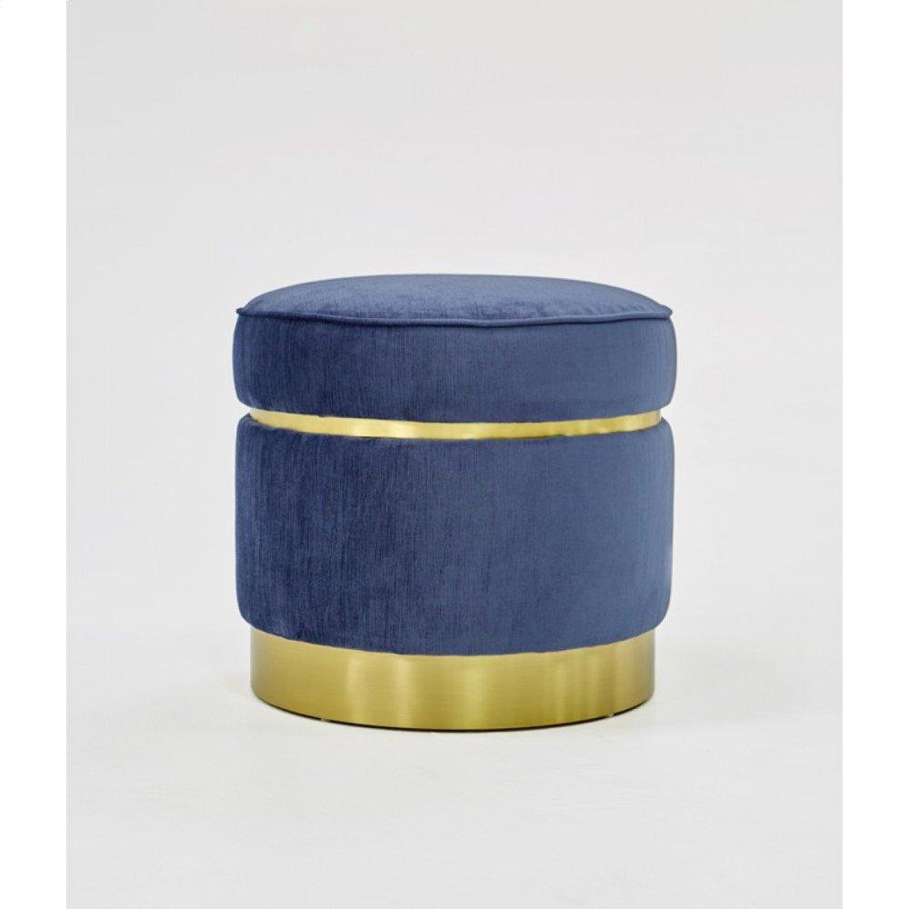 Divani Casa Tenaya Modern Blue Velvet & Gold Ottoman