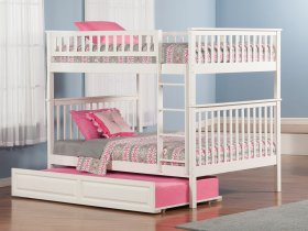 Woodland Bunk Bed Full over Full with Raised Panel Trundle Bed in White