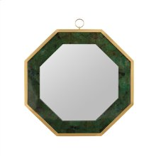 Emerald Green Dyed Penshell Inlaid Octagonal Mirror with Brass Accents