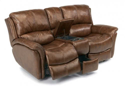 Dominique Leather Power Reclining Loveseat with Console