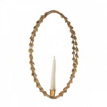 Gold Oval Garland Falling Leaf Candle