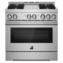 """36"""" RISE Gas Professional-Style Range with Chrome-Infused Griddle"""
