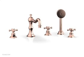 HENRI Deck Tub Set with Hand Shower with Cross Handles 161-48 - Polished Copper