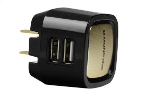 Monster Mobile Dual USB Wall Charger - Black and Gold