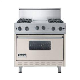 """Oyster Gray 36"""" Open Burner Commercial Depth Range - VGRC (36"""" wide, four burners 12"""" wide griddle/simmer plate)"""