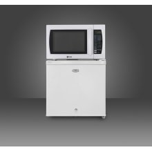 Compact refrigerator-microwave combination unit with automatic defrost and lock
