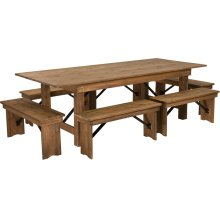 8' x 40'' Antique Rustic Folding Farm Table and Six Bench Set