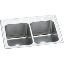 "Elkay Lustertone Classic Stainless Steel 25"" x 19-1/2"" x 10-1/8"", Equal Double Bowl Drop-in Sink"