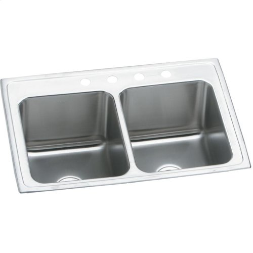 """Elkay Lustertone Classic Stainless Steel 25"""" x 19-1/2"""" x 10-1/8"""", Equal Double Bowl Drop-in Sink"""
