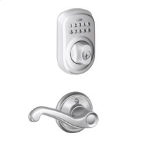Plymouth trim Keypad Deadbolt paired with Flair Lever Hall & Closet Lock - Satin Chrome
