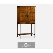 Country Walnut Drinks Cabinet with Iron Base