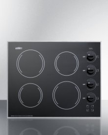 "24"" Wide 4-burner Radiant Cooktop Made In the USA With A Shallow and Smooth Black Ceramic Glass Finish"