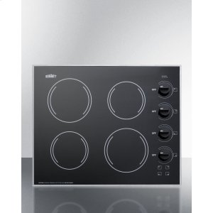 """Summit24"""" Wide 4-burner Radiant Cooktop Made In the USA With A Shallow and Smooth Black Ceramic Glass Finish"""