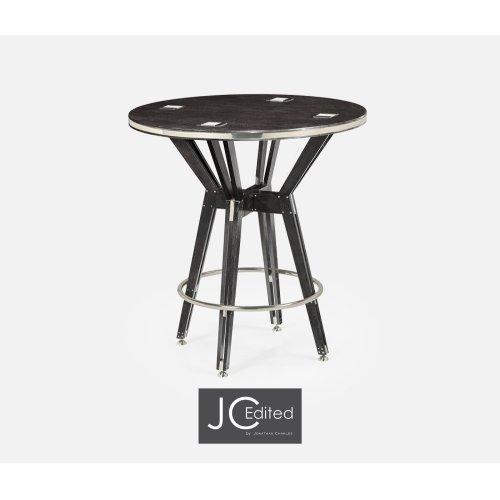 "36"" Architectural Circular Black Mocha Oak Counter Table"