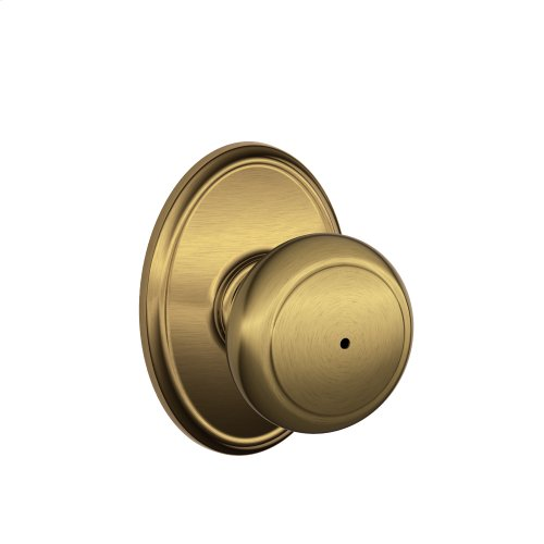 Andover Knob with Wakefield Style trim Bed & Bath Lock - Antique Brass