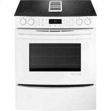 """30"""" Slide-In Electric Downdraft Range with Convection, Floating Glass White"""