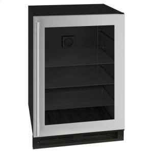 Marvel24-In Classic Built-In Beverage Center with Door Style - Stainless Steel Frame Glass