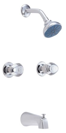 Chrome Gerber® Hardwater Two Handle Tub & Shower Fitting