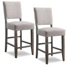 Wood Upholstered Back Counter Height Stool with Heather Gray Seat #10086BB/HG - Set of 2 Product Image