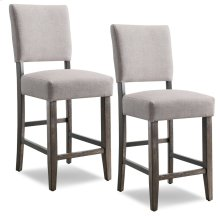 Wood Upholstered Back Counter Height Stool with Heather Gray Seat #10086BB/HG - Set of 2