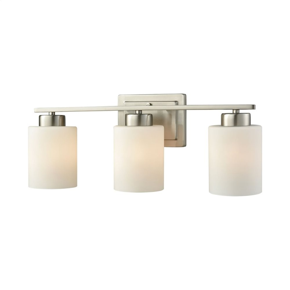 Summit Place 3-Light for the Bath in Brushed Nickel with Opal White Glass