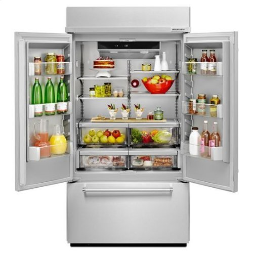 """KitchenAid® 24.2 Cu. Ft. 42"""" Width Built-In Stainless French Door Refrigerator with Platinum Interior Design - Stainless Steel"""