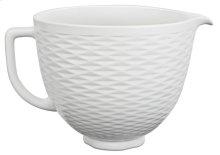 5 Quart White Chocolate Textured Ceramic Bowl