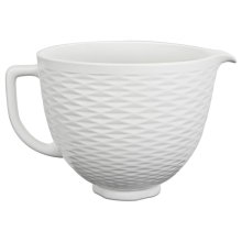 5 Quart Textured Ceramic Bowl - White Chocolate