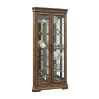 Lighted 5 Shelf Double Door Corner Curio Cabinet in Oak Brown Product Image