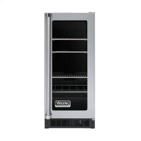 """Stainless Steel 15"""" Glass Door Beverage Centers - VUAR (Black Interior, Clear Door, Right Hinge)"""